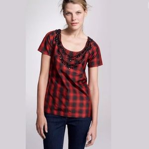 J.CREW Plaid Eliza Tee Necklace Silk Blouse Shirt